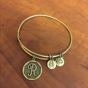 R Letter Charm Bangle Alex and Ani, Gold